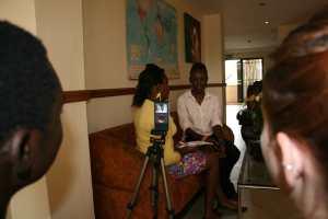 Rosie & Dennis watch the shoot