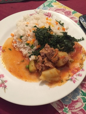 My First Dinner in Kenya, made by Ben at the Nairobi Stopover